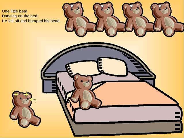 One little bear Dancing on the bed, He fell off and bumped his head.