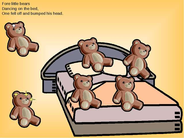 Fore little bears Dancing on the bed, One fell off and bumped his head.