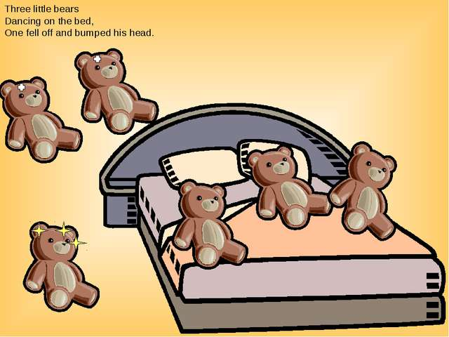 Three little bears Dancing on the bed, One fell off and bumped his head.