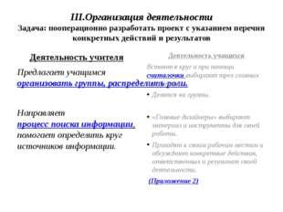 III.Организация деятельности Задача: пооперационно разработать проект с указа
