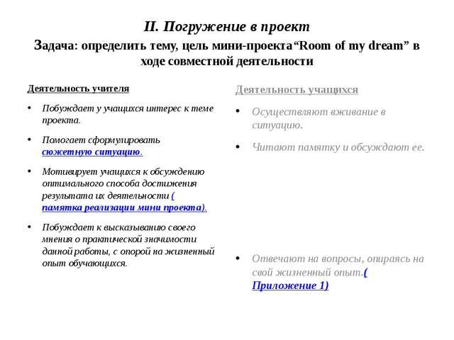 """II. Погружение в проект Задача: определить тему, цель мини-проекта""""Room of my..."""