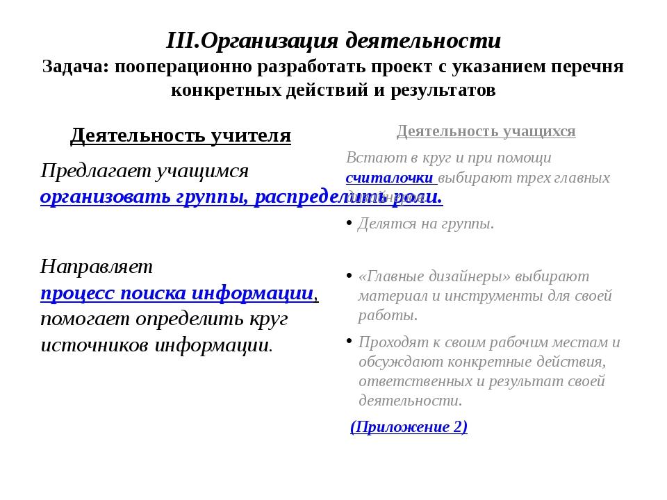 III.Организация деятельности Задача: пооперационно разработать проект с указа...