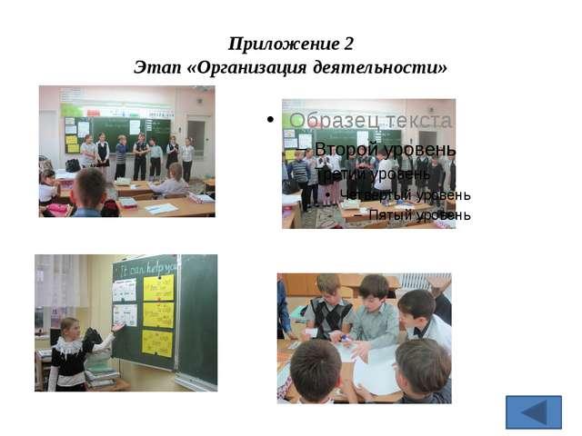 Приложение 2 Этап «Организация деятельности»