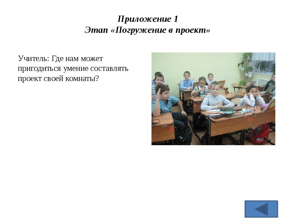 Приложение 1 Этап «Погружение в проект» Учитель: Где нам может пригодиться ум...