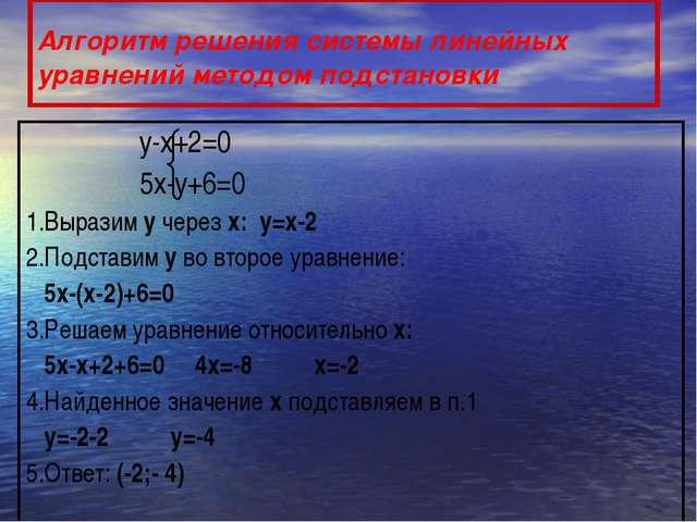 Алгоритм решения системы линейных уравнений методом подстановки у-х+2=0 5х-у+...