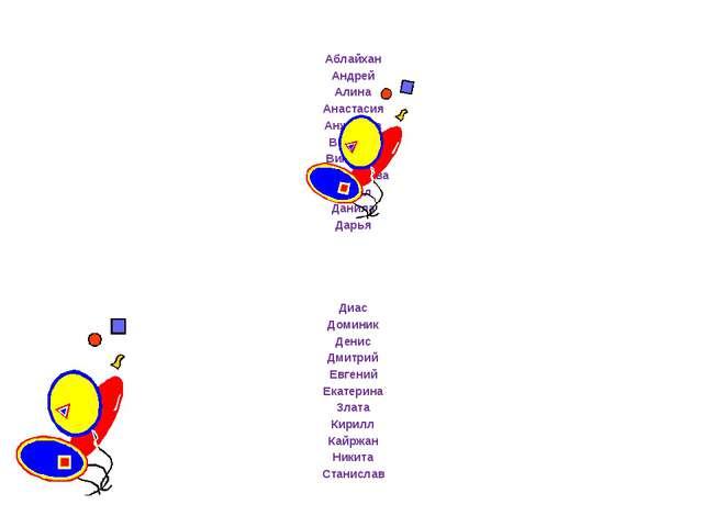 Аблайхан Андрей Алина Анастасия Анжелика Виолета Виктория Владислава Данил Д...
