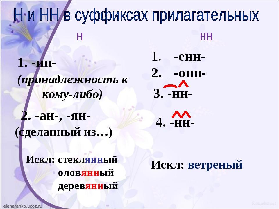 1. -ин- (принадлежность к кому-либо) 2. -ан-, -ян- (сделанный из…) Искл: стек...