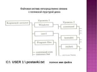 Файловая система непосредственно связана с логической структурой диска С:\ US