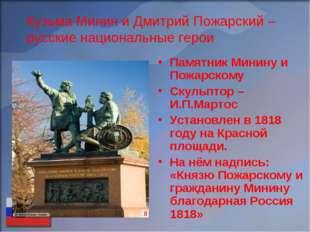 Кузьма Минин и Дмитрий Пожарский – русские национальные герои Памятник Минину