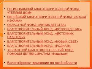 РЕГИОНАЛЬНЫЙ БЛАГОТВОРИТЕЛЬНЫЙ ФОНД «ТЕПЛЫЙ ДОМ» ЕВРЕЙСКИЙ БЛАГОТВОРИТЕЛЬНЫЙ