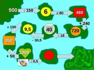 900 : 150 6 Х 80 480 + 240 720 : 18 40 - 30,5 9,5 Х 100 950 + 50 1000 : 0,5