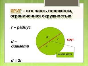 КРУГ – это часть плоскости, ограниченная окружностью круг центр круга r r – р