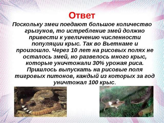 Ответ Поскольку змеи поедают большое количество грызунов, то истребление змей...