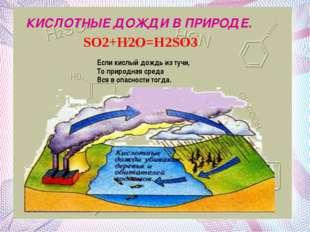 КИСЛОТНЫЕ ДОЖДИ В ПРИРОДЕ. КИСЛОТНЫЕ ДОЖДИ В ПРИРОДЕ. SO2+H2O=H2SO3 Если кисл