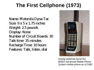 The First Cellphone (1973) Name: Motorola Dyna-Tac Size: 9 x 5 x 1.75 inches