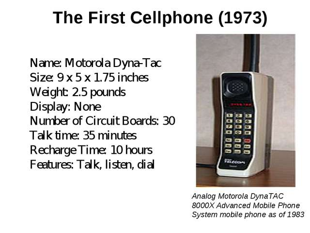 The First Cellphone (1973) Name: Motorola Dyna-Tac Size: 9 x 5 x 1.75 inches...