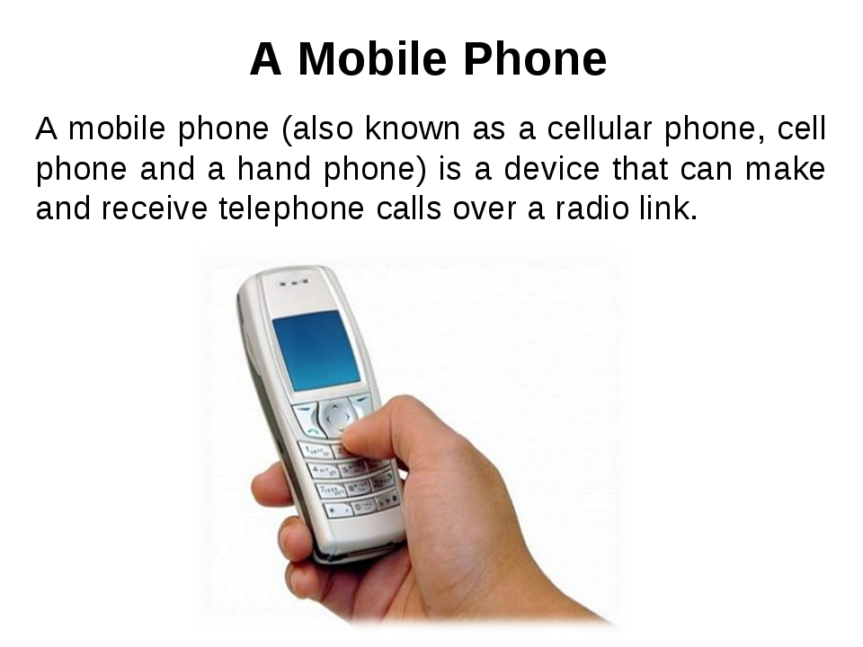 A mobile phone (also known as a cellular phone, cell phone and a hand phone)...