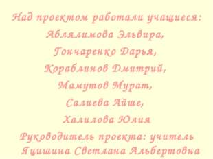 Над проектом работали учащиеся: Аблялимова Эльвира, Гончаренко Дарья, Корабли