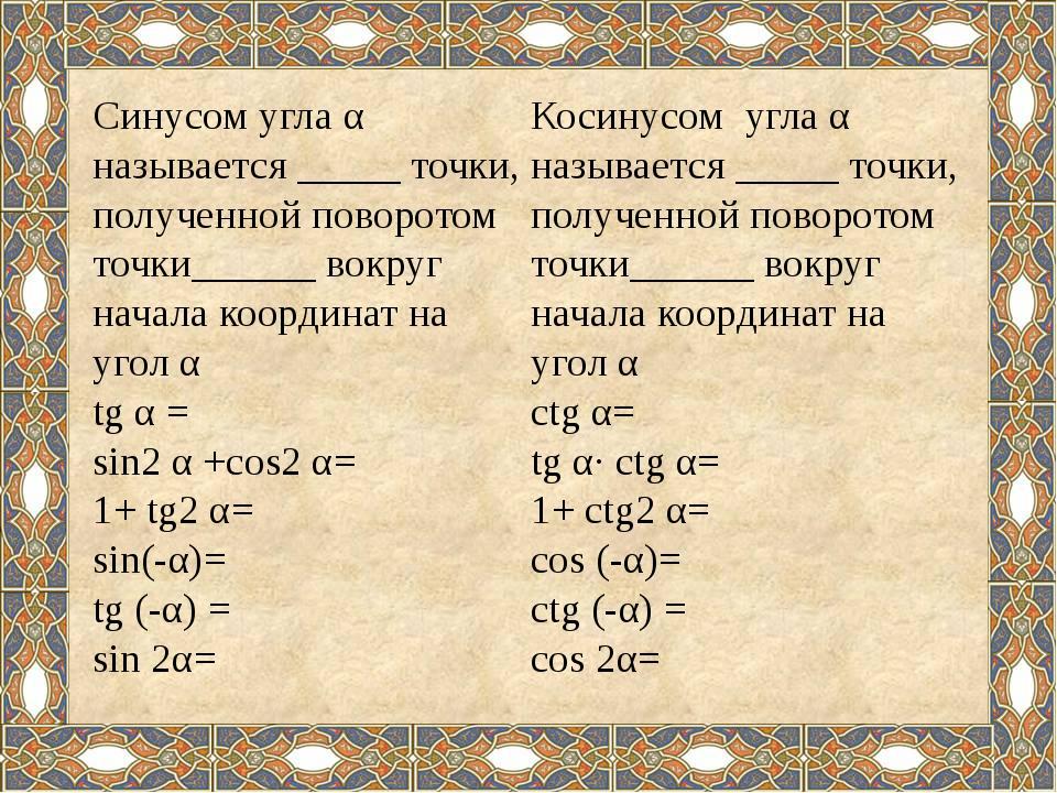Косинусом угла α называется _____ точки, полученной поворотом точки______ во...