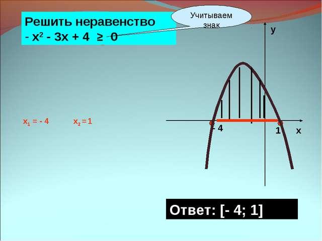 х у - 4 1 Ответ: [- 4; 1] Решить неравенство - х2 - 3х + 4 ≥ 0 Учитываем знак...