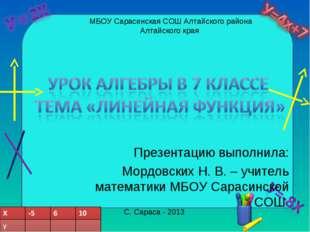 Презентацию выполнила: Мордовских Н. В. – учитель математики МБОУ Сарасинской