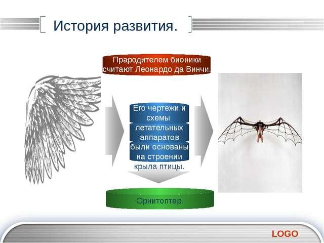 История развития. Его чертежи и схемы летательных аппаратов были основаны на...