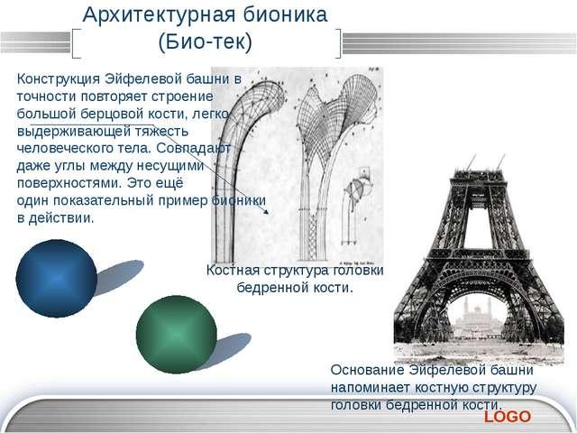 Архитектурная бионика (Био-тек) Конструкция Эйфелевой башни в точности повтор...