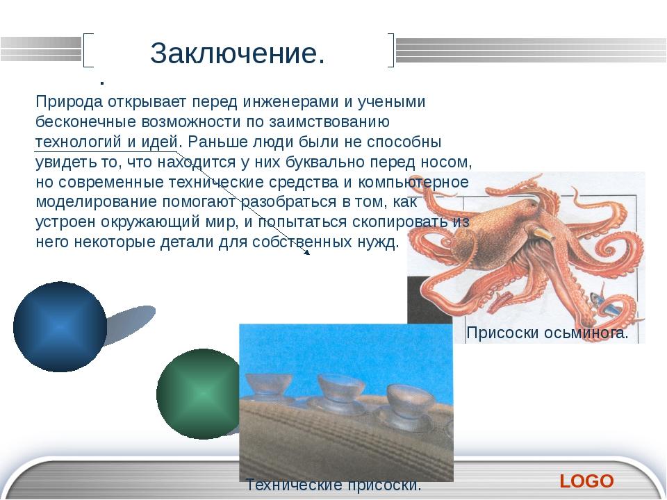 Заключение. . Природа открывает перед инженерами и учеными бесконечные возмож...
