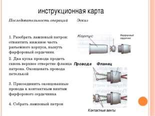 инструкционная карта Фарфоровый сердечник ПроводаФланец Контактные винты Пос