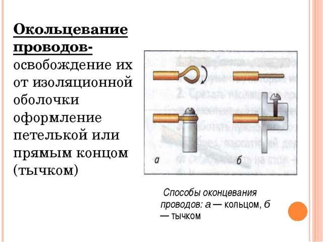 Окольцевание проводов- освобождение их от изоляционной оболочки оформление пе...