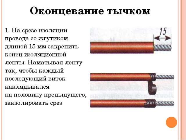 Оконцеваниетычком 1. На срезе изоляции провода со жгутиком длиной 15 мм закре...