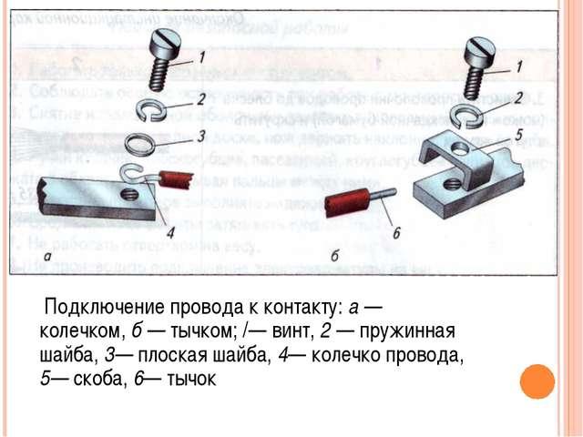 Подключение провода к контакту: а — колечком, б — тычком; /— винт, 2 — пружи...