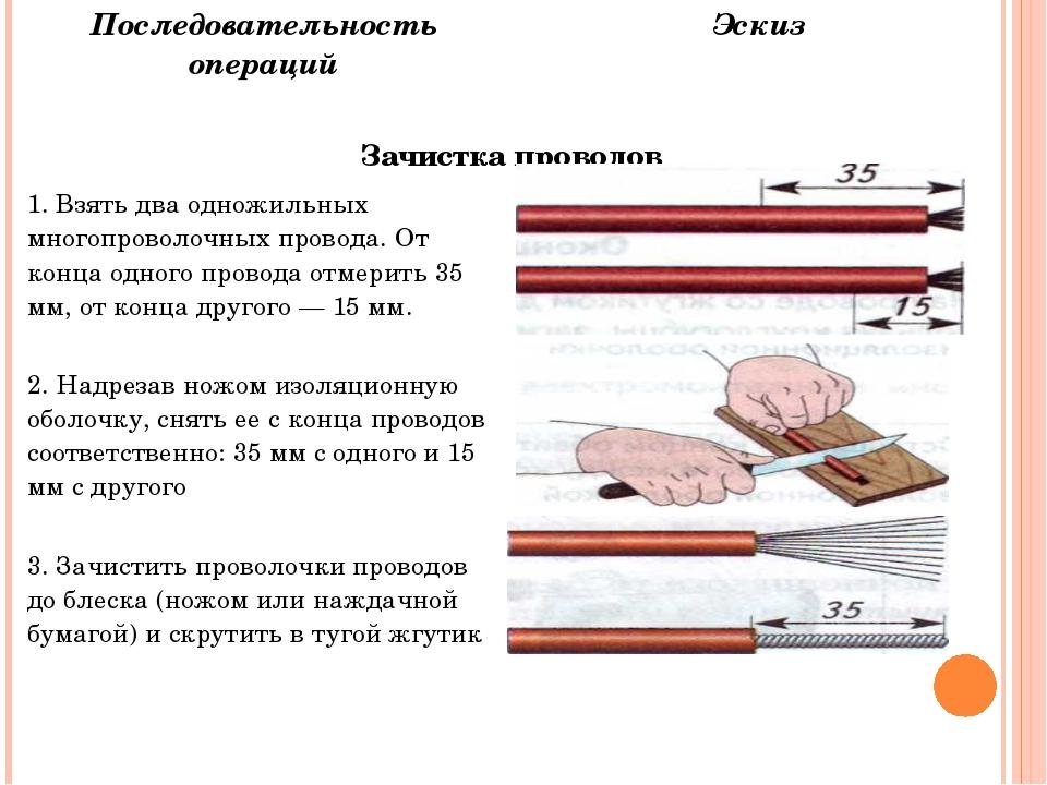 Последовательность операций Эскиз Зачистка проводов 1. Взять два одножильных...