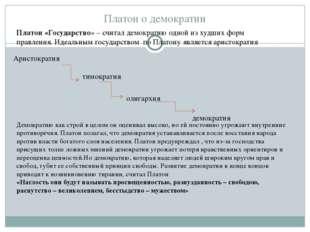 Платон о демократии Аристократия тимократия олигархия демократия Демократию к