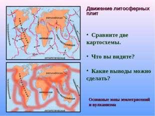 Движение литосферных плит Сравните две картосхемы. Что вы видите? Какие вывод