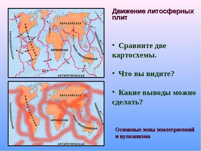Движение литосферных плит Сравните две картосхемы. Что вы видите? Какие вывод...
