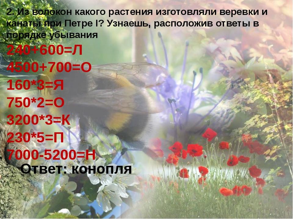 2. Из волокон какого растения изготовляли веревки и канаты при Петре I? Узнае...