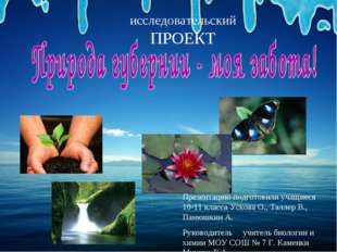 исследовательскийПРОЕКТ Презентацию подготовили учащиеся 10-11 класса Ускова
