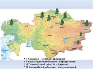 * В Кокшетау - Бурабай, (Боровое) * В Карагандинской области – Каркаралинск.