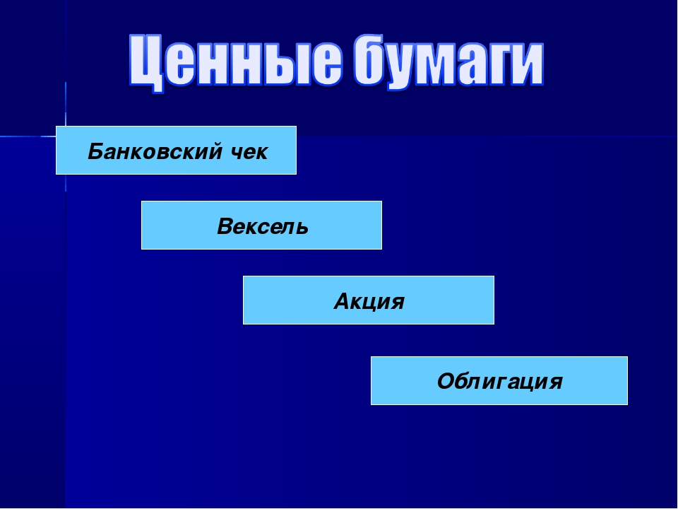 Банковский чек Вексель Акция Облигация
