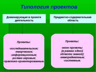 Типология проектов Доминирующая в проекте деятельность Предметно-содержательн
