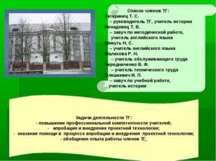 Список членов ТГ: Татаринец Т. С. – руководитель ТГ, учитель истории Ненадов