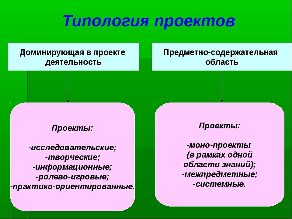 Типология проектов Доминирующая в проекте деятельность Предметно-содержательн...