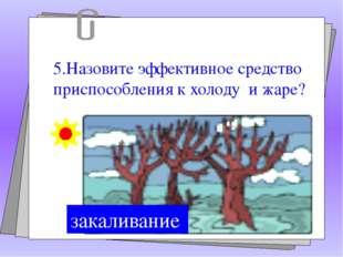 5.Назовите эффективное средство приспособления к холоду и жаре? закаливание