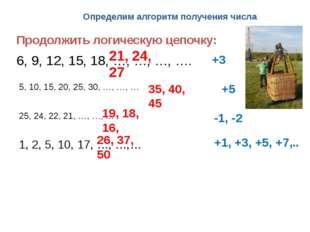 Определим алгоритм получения числа Продолжить логическую цепочку: 6, 9, 12, 1