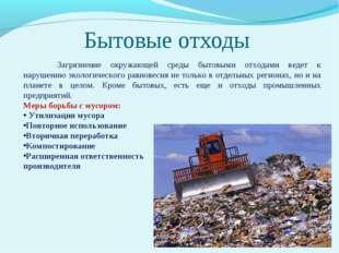 Бытовые отходы Загрязнение окружающей среды бытовыми отходами ведет к наруше
