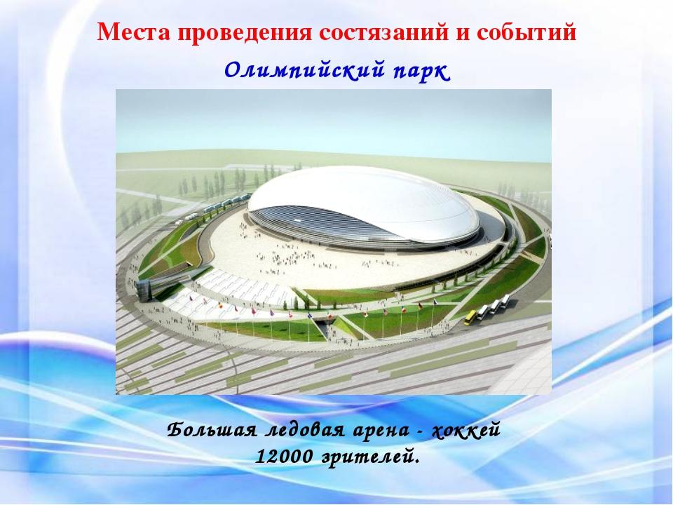 Места проведения состязаний и событий Олимпийский парк Большая ледовая арена...