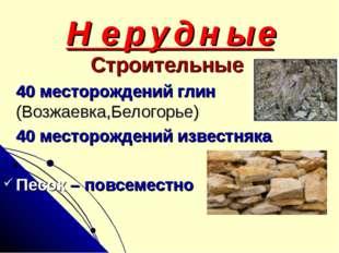 Н е р у д н ы е Строительные 40 месторождений глин (Возжаевка,Белогорье) 40 м