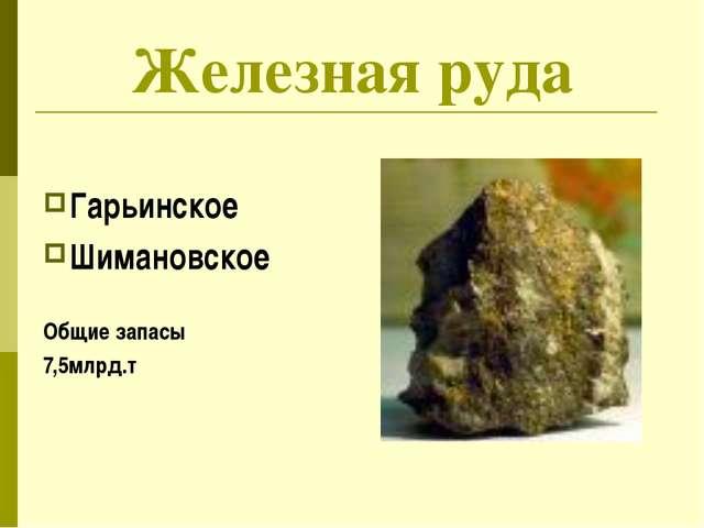Железная руда Гарьинское Шимановское Общие запасы 7,5млрд.т