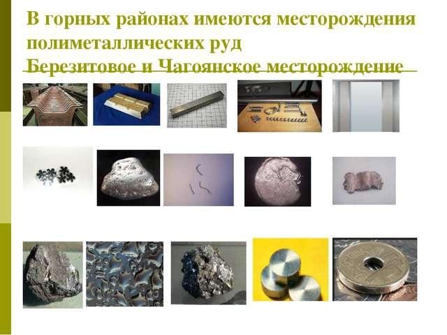 В горных районах имеются месторождения полиметаллических руд Березитовое и Ча...